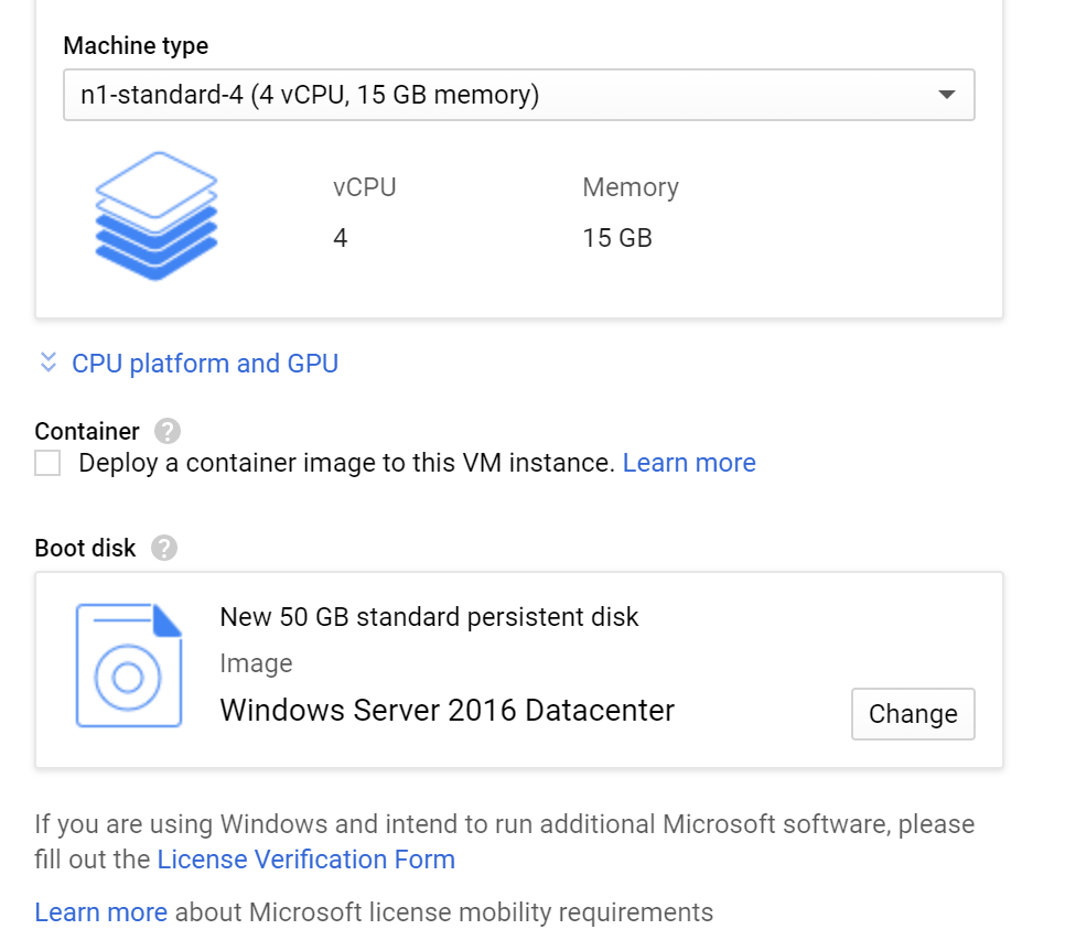 Cloud-instance server settings - 4vCPU and 15GB of RAM to migrate from box to google drive